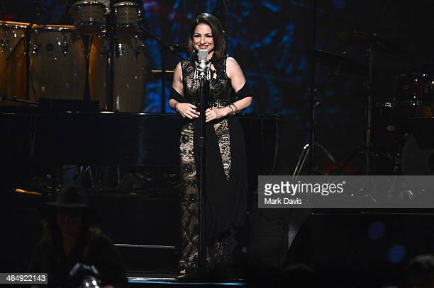 Singer Gloria Estefan performs onstage at 2014 MusiCares Person Of The Year Honoring Carole King at Los Angeles Convention Center on January 24 2014...