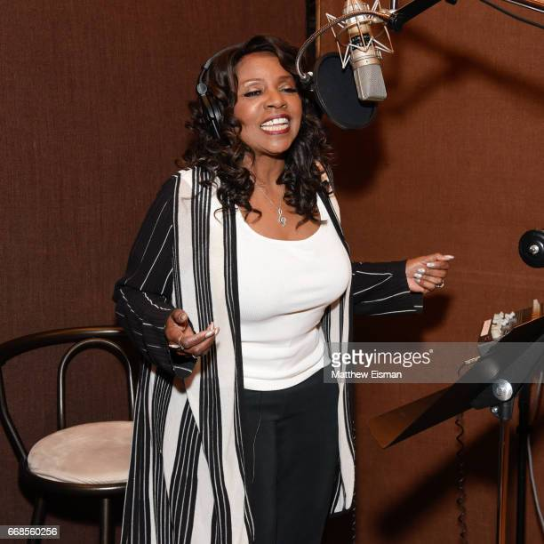 Singer Gloria Gaynor records for her upcoming release 'Testimony' at Avatar Studios on April 14 2017 in New York City