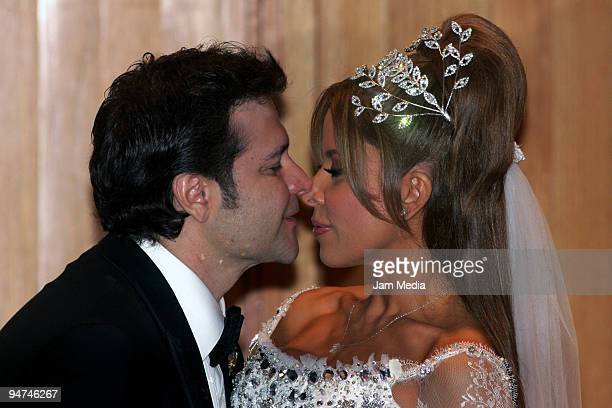 Singer Gloria Trevi and Armando Gomez during the press conference after their wedding at Museo de arte Contemporaneo on December 17 2009 in Monterrey...