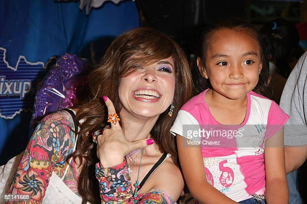 Singer Gloria Trevi signs copies of her new album 'Una Rosa Blue' at Mixup Polanco on July 31 2008 in Mexico City Mexico