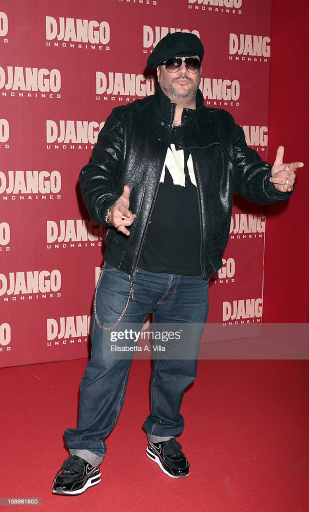 Singer G-Max attends 'Django Unchained' premiere at Cinema Adriano on January 4, 2013 in Rome, Italy.