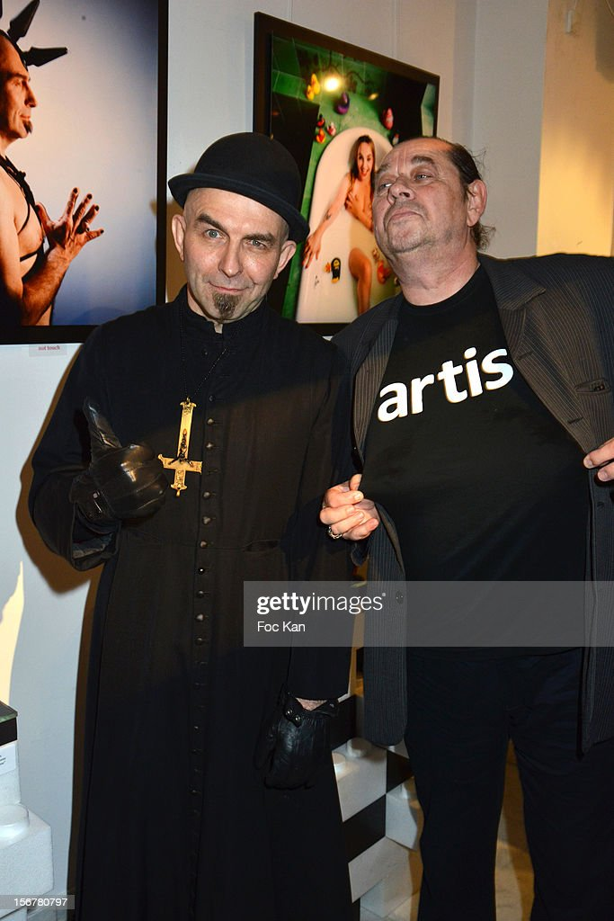 Singer 'Gogol 1er' from La Horde band and photographer Pierre Terrasson attend 'Oh! My Gode' Act 2 Exhibition Preview Cocktail Hosted by G Spirits at Galerie Hubert Konrad on November 20, 2012 in Paris, France.