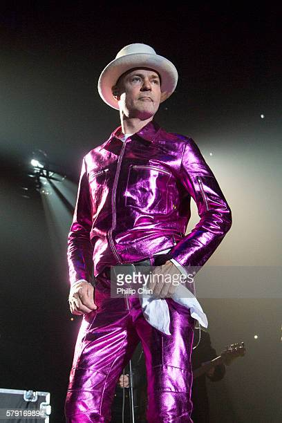 Singer Gord Downie of The Tragically Hip performs at their last Canadian tour 'Man Machine Poem' at Save On Foods Memorial Centre on July 22 2016 in...