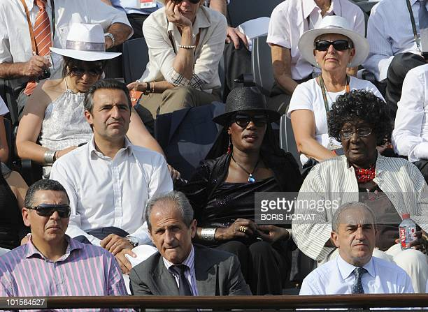 Singer Grace Jones French Junior Minister for veterans Hubert Falco and fornmer French national Rugby player Abdelatif Benazzi watch Spain's Rafael...