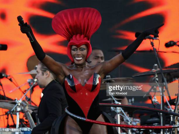 Singer Grace Jones performs on stage during the Diamond Jubilee concert at Buckingham Palace on June 4 2012 in London England For only the second...
