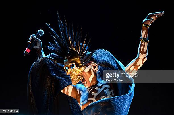 Singer Grace Jones performs onstage during FYF Fest 2016 at Los Angeles Sports Arena on August 28 2016 in Los Angeles California