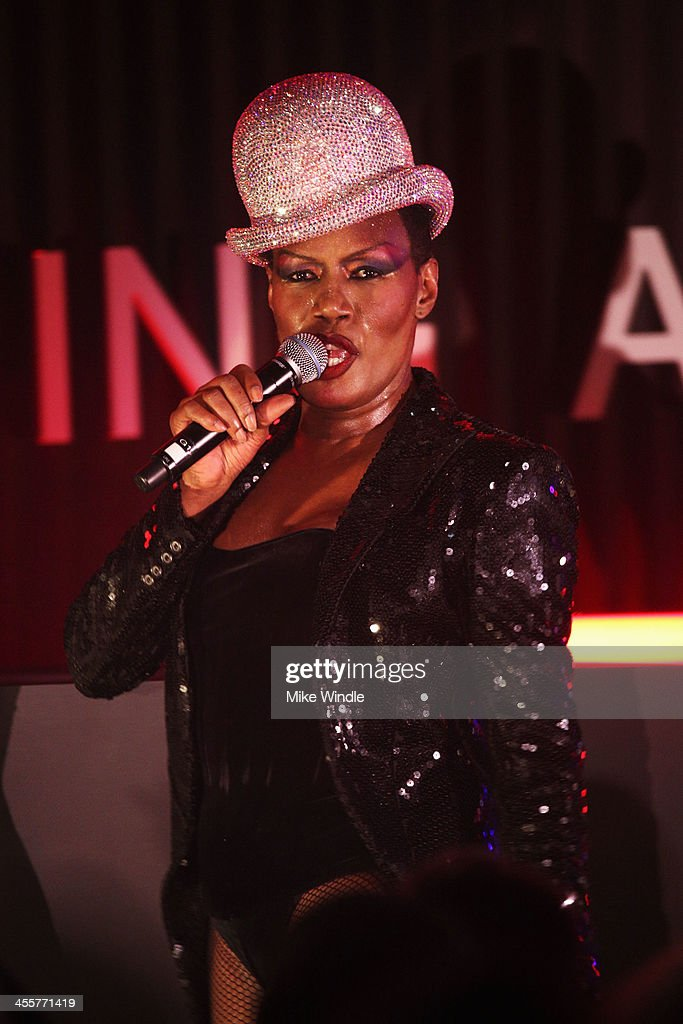 Singer <a gi-track='captionPersonalityLinkClicked' href=/galleries/search?phrase=Grace+Jones+-+Performer&family=editorial&specificpeople=156417 ng-click='$event.stopPropagation()'>Grace Jones</a> performs onstage during the 2013 amfAR Inspiration Gala Los Angeles presented by MAC Viva Glam at Milk Studios on December 12, 2013 in Los Angeles, California.