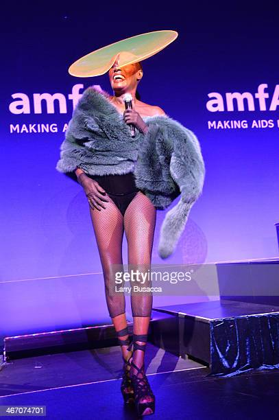Singer Grace Jones performs onstage during the 2014 amfAR New York Gala at Cipriani Wall Street on February 5 2014 in New York City