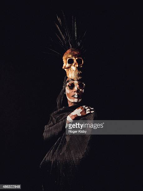 Singer Grace Jones poses for a portrait backstage at the Afropunk Festival at Commodore Barry Park on August 22 2015 in Brooklyn New York