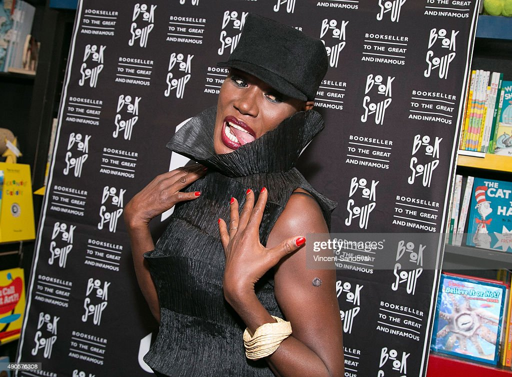 Singer Grace Jones signs and discusses her new book 'I'll Never Write My Memoirs' at Book Soup on September 29, 2015 in West Hollywood, California.