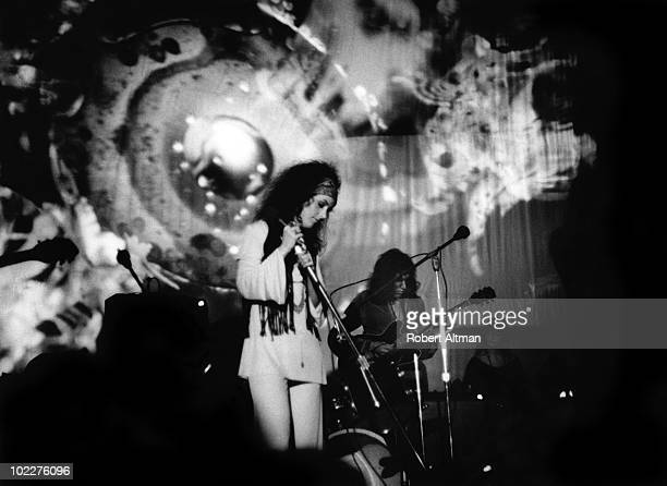 Singer Grace Slick of the Jefferson Airplane performs onstage at The Family Dog At The Great Highway on June 13 1969 in San Francisco California
