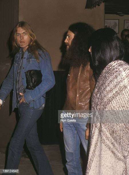 Singer Gregg Allman and singer Cher on March 1 1976 dine at The Palm Restaurant in Los Angeles California