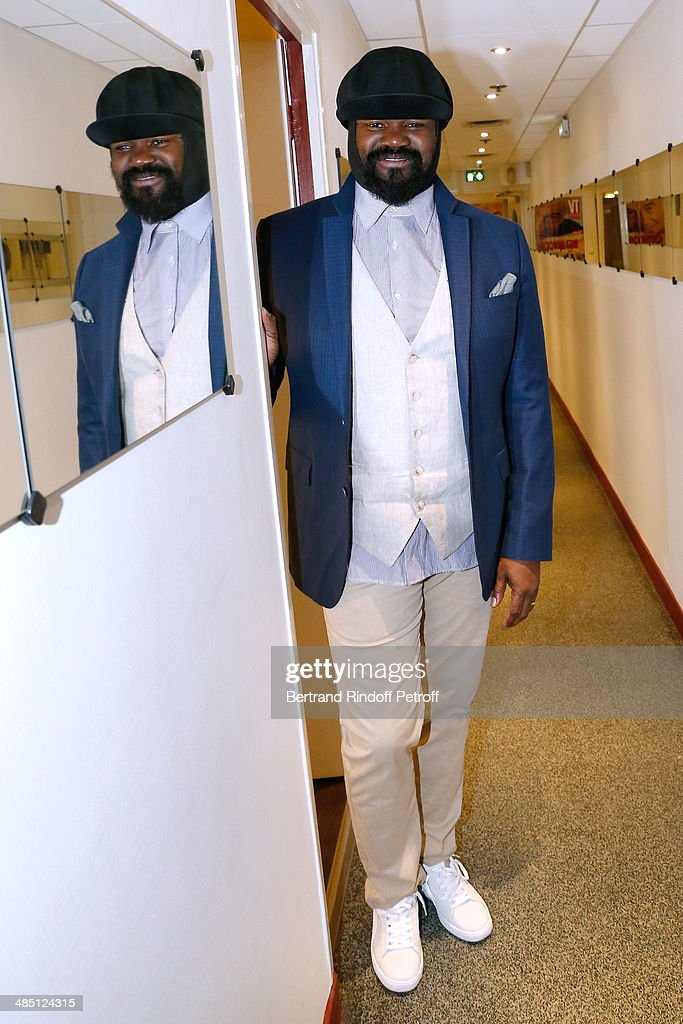 Singer <a gi-track='captionPersonalityLinkClicked' href=/galleries/search?phrase=Gregory+Porter&family=editorial&specificpeople=7494861 ng-click='$event.stopPropagation()'>Gregory Porter</a> attends the 'Vivement Dimanche' French TV Show. Held at Pavillon Gabriel on April 16, 2014 in Paris, France.