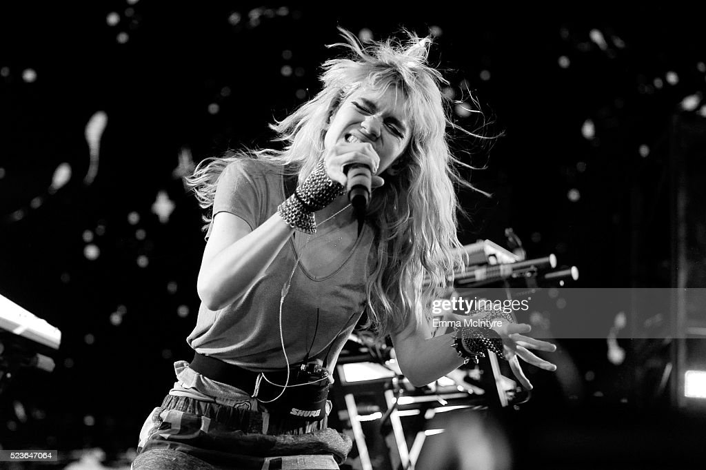 Singer Grimes performs onstage during day 2 of the 2016 Coachella Valley Music & Arts Festival Weekend 2 at the Empire Polo Club on April 23, 2016 in Indio, California.