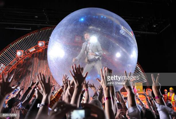 Singer/ guitarist Wayne Coyne of The Flaming Lips performs at The Greek Theatre on August 17 2009 in Los Angeles California