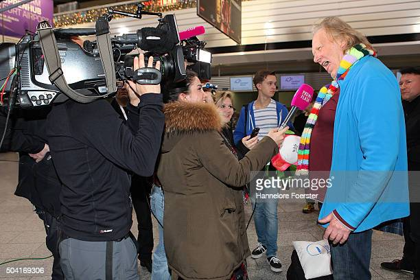 Singer Gunter Gabriel speaks to the press before the flight to Australia as a participant in the 2016 RTLTVShow 'Dschungelcamp ' I'm a celebrity get...