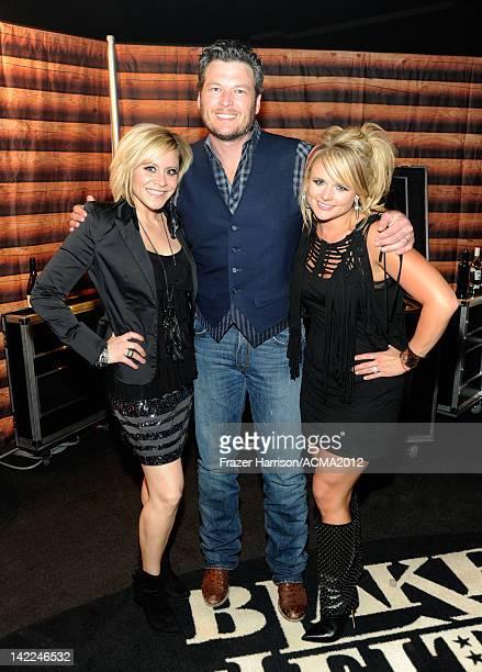 Singer Gwen Sebastian musician Blake Shelton and singer Miranda Lambert pose backstage during Dr Pepper Private Performance Featuring Blake Shelton...