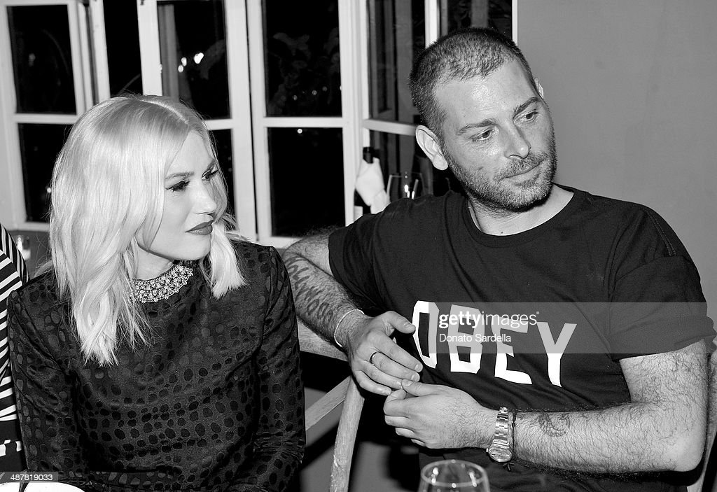 Singer Gwen Stefani and designer Fausto Puglisi attend A private dinner In honor of Fausto Puglisi of Emanuel Ungaro hosted by Barneys New York at Chateau Marmont on May 1, 2014 in Los Angeles, California.