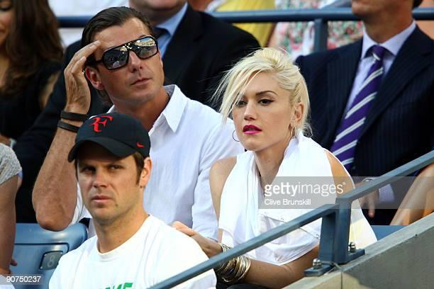 Singer Gwen Stefani and husband singer Gavin Rossdale at the match between Roger Federer of Switzerland and Juan Martin Del Potro of Argentina on day...