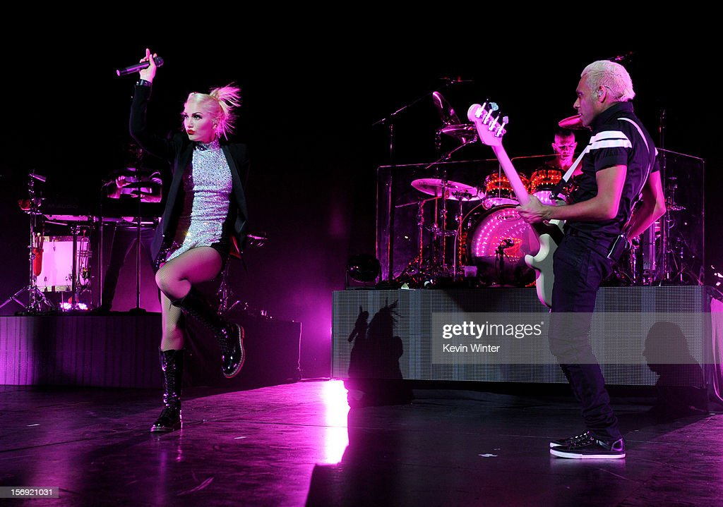 Singer Gwen Stefani (L) and musician Tony Kanal of No Doubt perform at Gibson Amphitheatre on November 24, 2012 in Universal City, California.