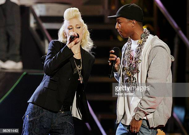 Singer Gwen Stefani and Pharrell perform onstage during the 2005 American Music Awards held at the Shrine Auditorium on November 22 2005 in Los...