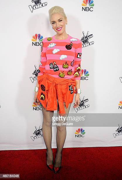 Singer Gwen Stefani arrives at NBC's 'The Voice' Season 7 red carpet event at HYDE Sunset Kitchen Cocktails on December 8 2014 in West Hollywood...