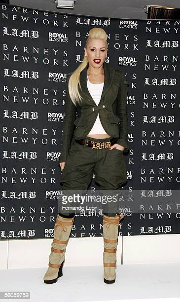 Singer Gwen Stefani launches LAMB men's sneaker line at Barney's on November 2 2005 in New York City