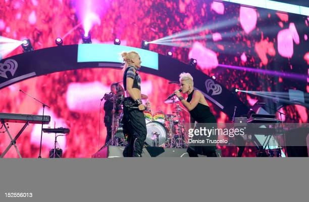 Singer Gwen Stefani of No Doubt and singer Pink perform onstage during the 2012 iHeartRadio Music Festival at the MGM Grand Garden Arena on September...