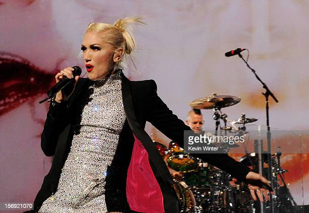 Singer Gwen Stefani of No Doubt performs at Gibson Amphitheatre on November 24 2012 in Universal City California