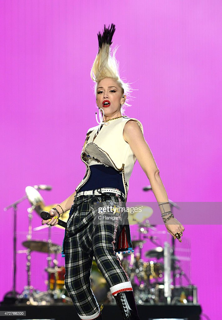 Singer Gwen Stefani of No Doubt performs onstage during Rock In Rio USA at the MGM Resorts Festival Grounds on May 8 2015 in Las Vegas Nevada