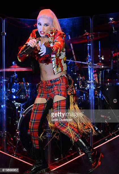Singer Gwen Stefani of the band No Doubt performs onstage during the final show at Irvine Meadows Amphitheatre on October 30 2016 in Irvine California