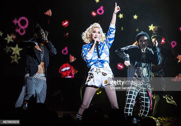 Singer Gwen Stefani performs during MasterCard Priceless Surprises presents Gwen Stefani at Orpheum Theatre on February 7 2015 in Los Angeles...