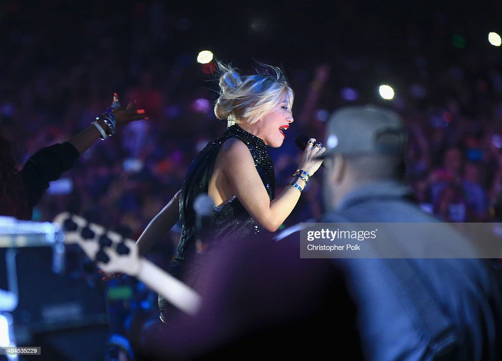 Singer Gwen Stefani performs with Pharrell Williams onstage during day 2 of the 2014 Coachella Valley Music & Arts Festival at the Empire Polo Club on April 12, 2014 in Indio, California.