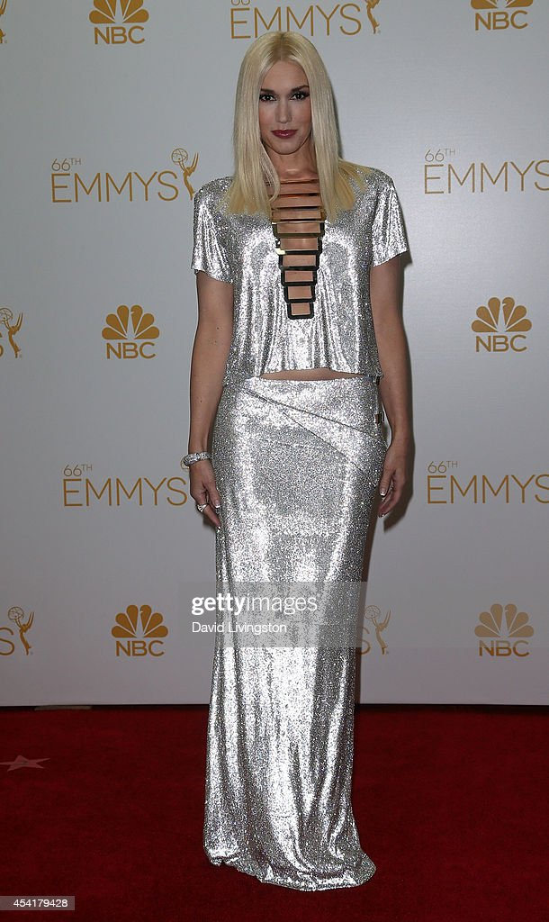 Singer Gwen Stefani poses in the press room at the 66th Annual Primetime Emmy Awards at the Nokia Theatre L.A. Live on August 25, 2014 in Los Angeles, California.