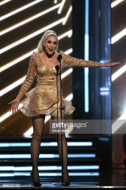Singer Gwen Stefani speaks onstage during the 2017 Billboard Music Awards at TMobile Arena on May 21 2017 in Las Vegas Nevada