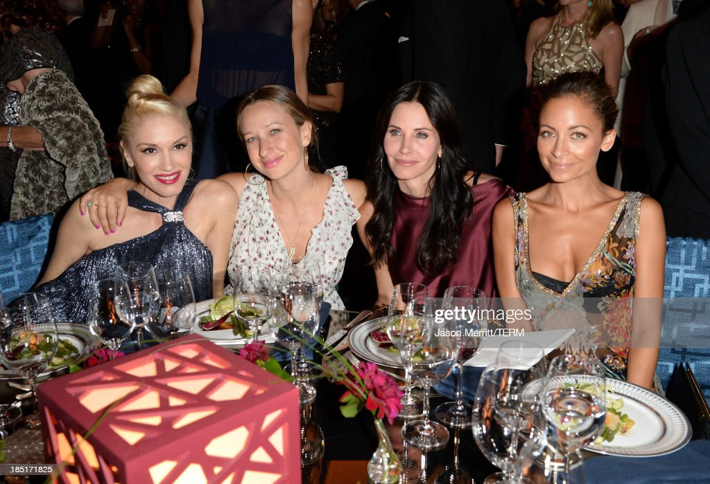 Singer Gwen Stefani, wearing Ferragamo, Jennifer Meyer, actress Courteney Cox and Nicole Richie attend the Wallis Annenberg Center for the Performing Arts Inaugural Gala presented by Salvatore Ferragamo at the Wallis Annenberg Center for the Performing Arts on October 17, 2013 in Beverly Hills, California.