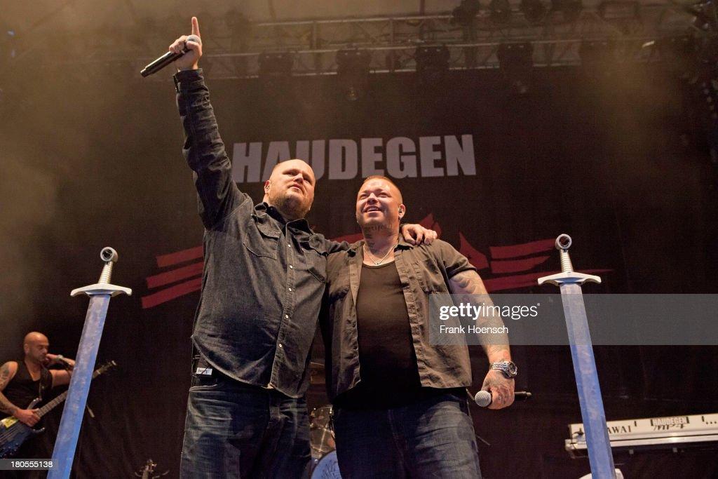 Singer Hagen Stoll and Sven Gillert of Haudegen perform live during a concert at the Kulturbrauerei on September 14 2013 in Berlin Germany