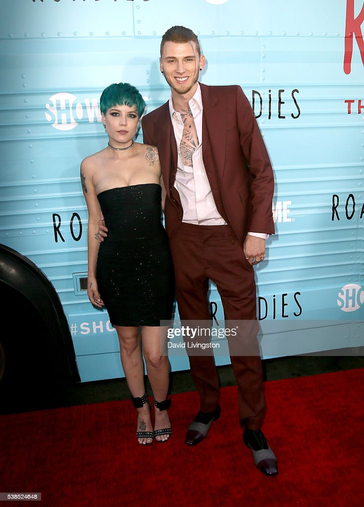 Singer Halsey and rapper Machine Gun Kelly attend the premiere for Showtime's 'Roadies' at The Theatre at Ace Hotel on June 6 2016 in Los Angeles...