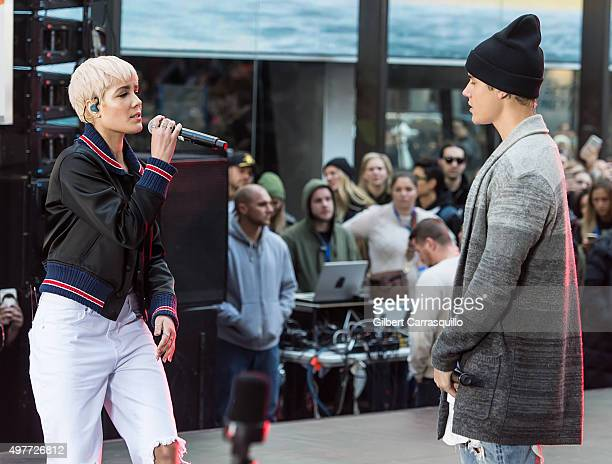 Singer Halsey and Singersongwriter Justin Bieber perform on NBC's 'Today' Citi Concert Series at the NBC's TODAY Show on November 18 2015 in New York...