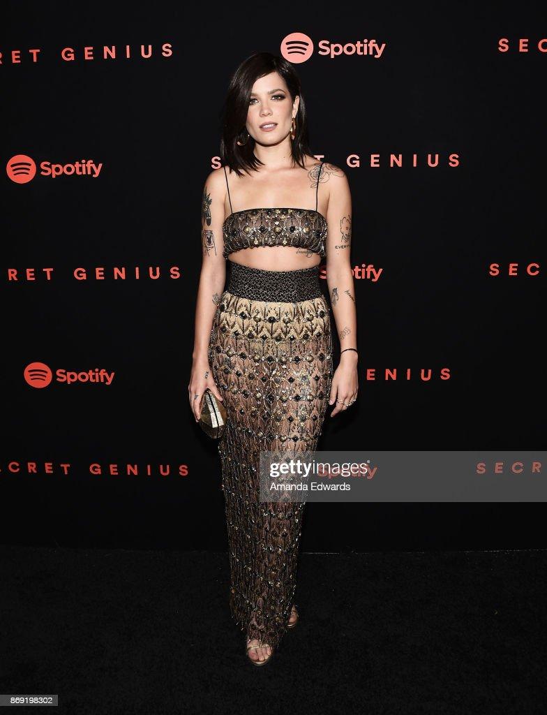 Singer Halsey arrives at Spotify's Inaugural Secret Genius Awards on November 1, 2017 in Los Angeles, California.