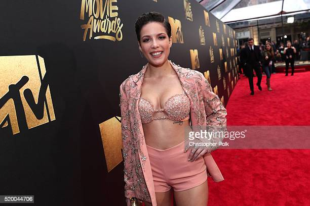 Singer Halsey attends the 2016 MTV Movie Awards at Warner Bros Studios on April 9 2016 in Burbank California MTV Movie Awards airs April 10 2016 at...