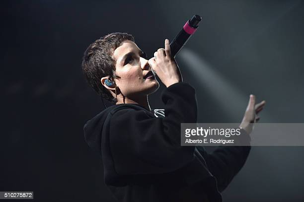 Singer Halsey performs onstage during Lucian Grainge's 2016 Artist Showcase Presented by American Airlines and Citi at The Theatre at Ace Hotel...