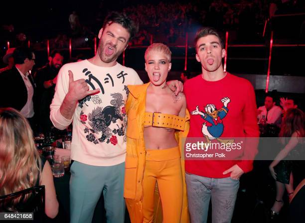 Singer Halsey poses with recording artists Alex Pall and Andrew Taggart of music group The Chainsmokers during the 2017 iHeartRadio Music Awards...