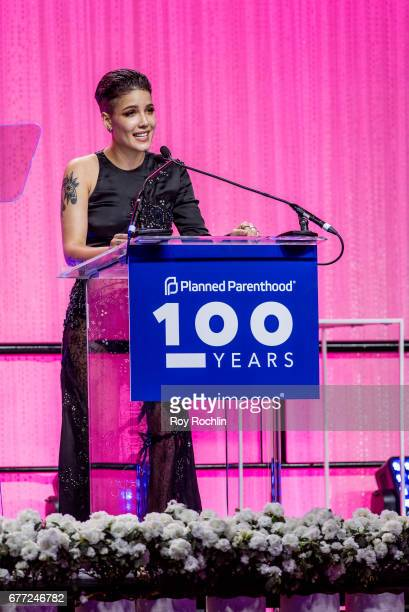 Singer Halsey speaks during the Planned Parenthood 100th Anniversary Gala at Pier 36 on May 2 2017 in New York City