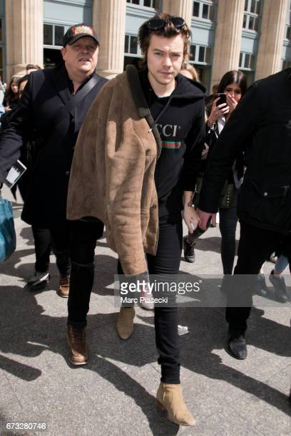 Singer Harry Styles arrives at Gare du Nord station on April 26 2017 in Paris France