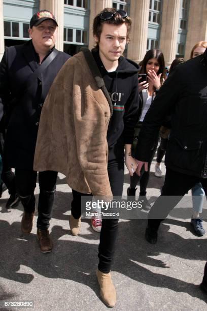 Singer Harry Styles arrives at Gare du Nord station on April 26 2017 in Paris France