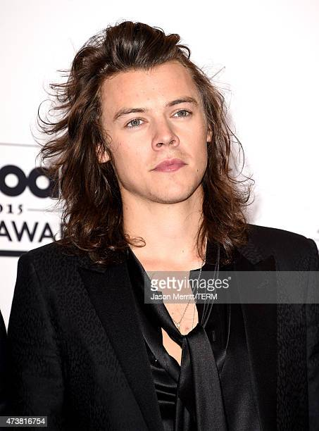 Singer Harry Styles of One Direction winners of the Top Duo/Group and Top Touring Artist awards poses in the press room during the 2015 Billboard...