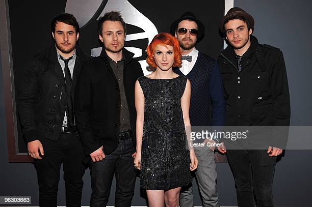 Singer Hayley Williams and Paramore arrive at the 52nd Annual GRAMMY Awards held at Staples Center on January 31 2010 in Los Angeles California
