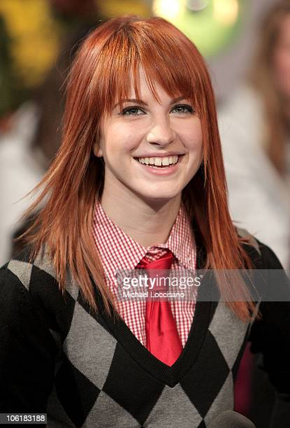 Singer Hayley Williams of Paramore appears on MTV's 'TRL' at MTV Studios in New York City's Times Square on November 26 2007