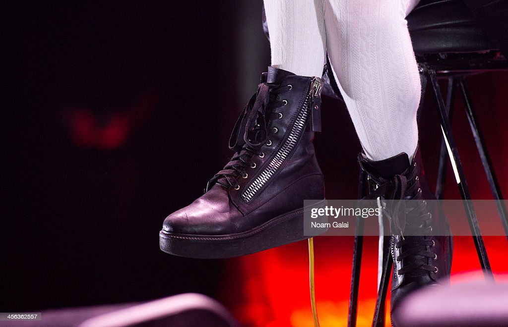 Singer Hayley Williams of Paramore (shoe detail) performs at the Z100 & Coca-Cola All Access Lounge at Hammerstein Ballroom on December 13, 2013 in New York City.